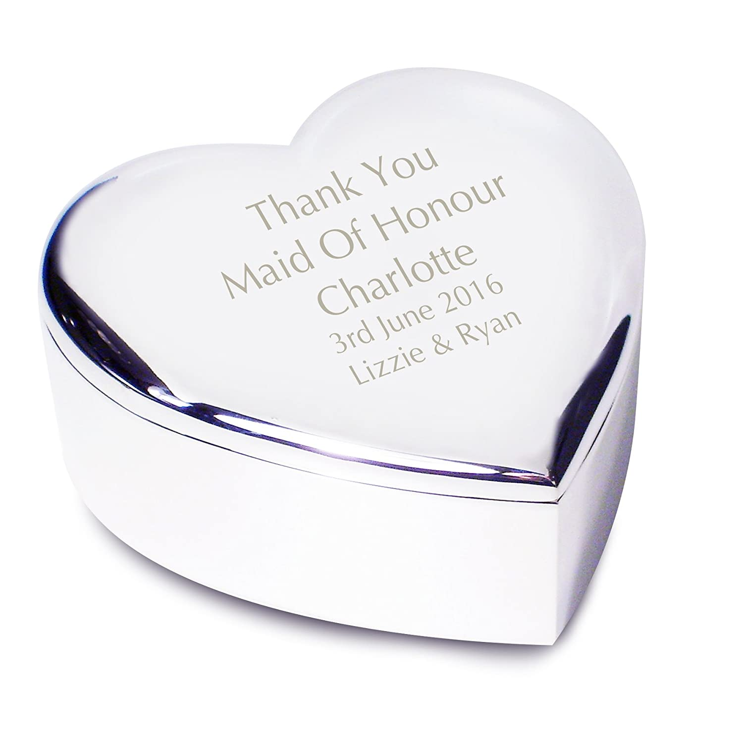 Maid of Honour Heart Trinket - Personalised Laser Engraving