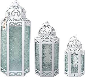 Decorative Candle Lantern Set for Home Room Decor, White