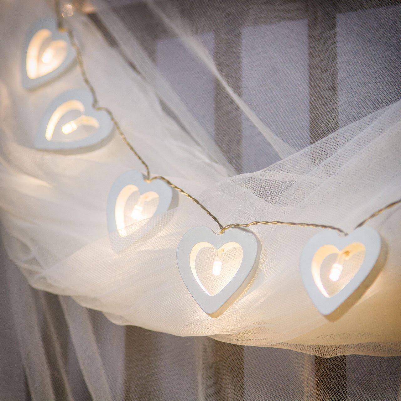 Catena a batteria 1,35 m, 10 cuori in legno bianco Ø 55 mm, led bianco caldo, luce fissa e flashing, luci per albero di Natale, decorazione natalizia Luminalpark Lottiimportex