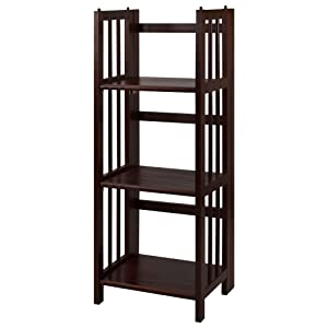 "Casual Home 3-Shelf Folding Bookcase (14"" Wide)-Walnut"