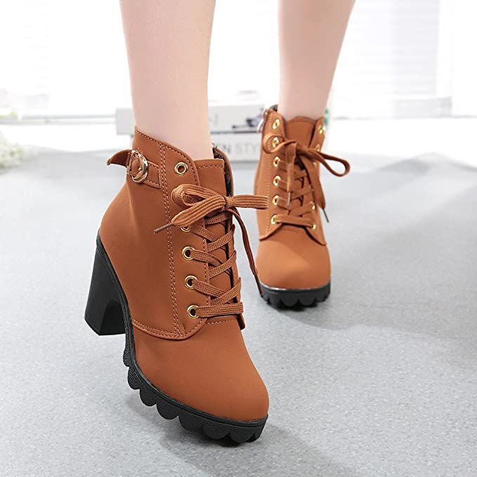 Amazon.com: Sunhusing Womens Round Toe High-Heel Platform Short Boots Female Ladies Lace-Up Buckle Ankle Booties: Clothing