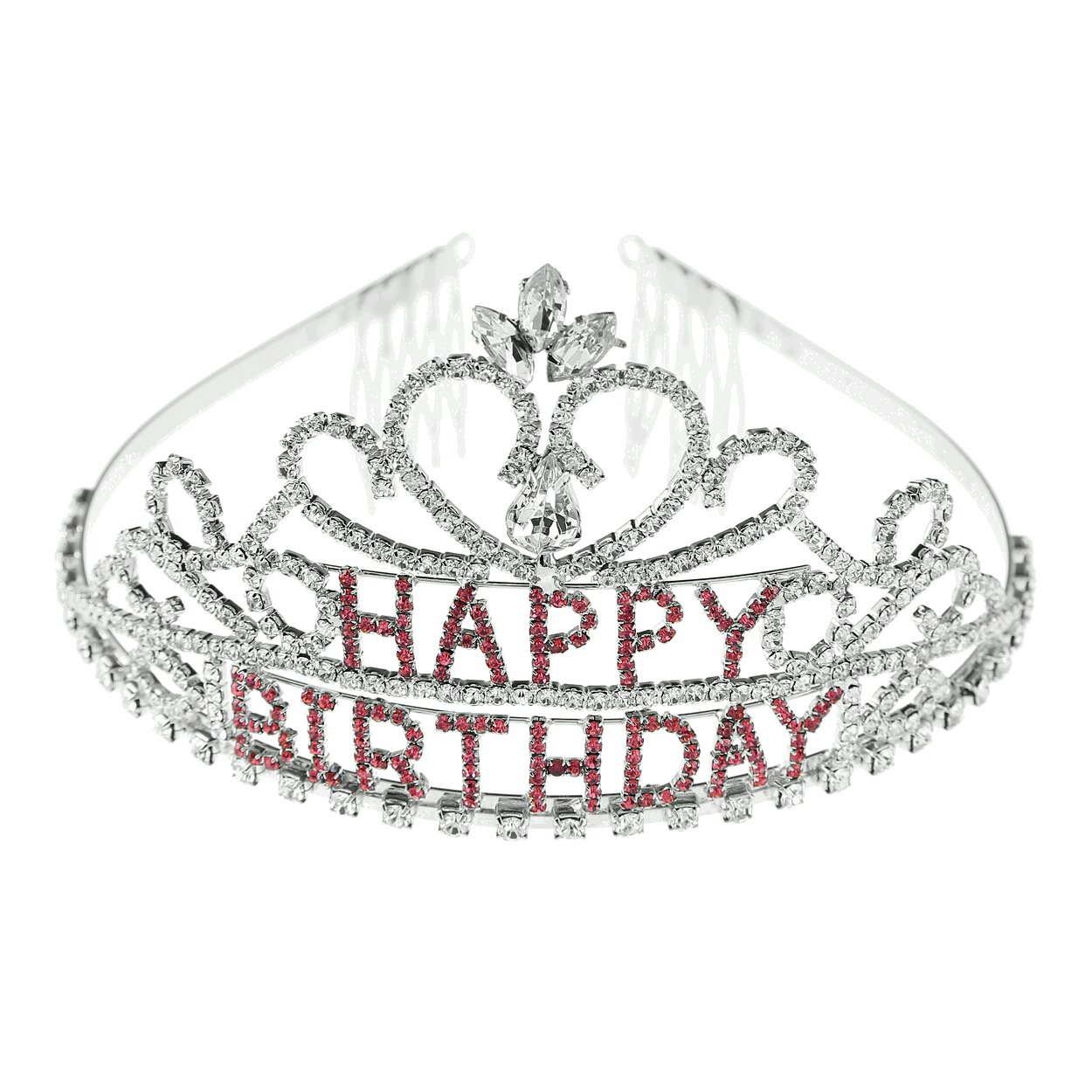 Arsimus Rhinestone Happy Birthday Tiara with Pink Stones