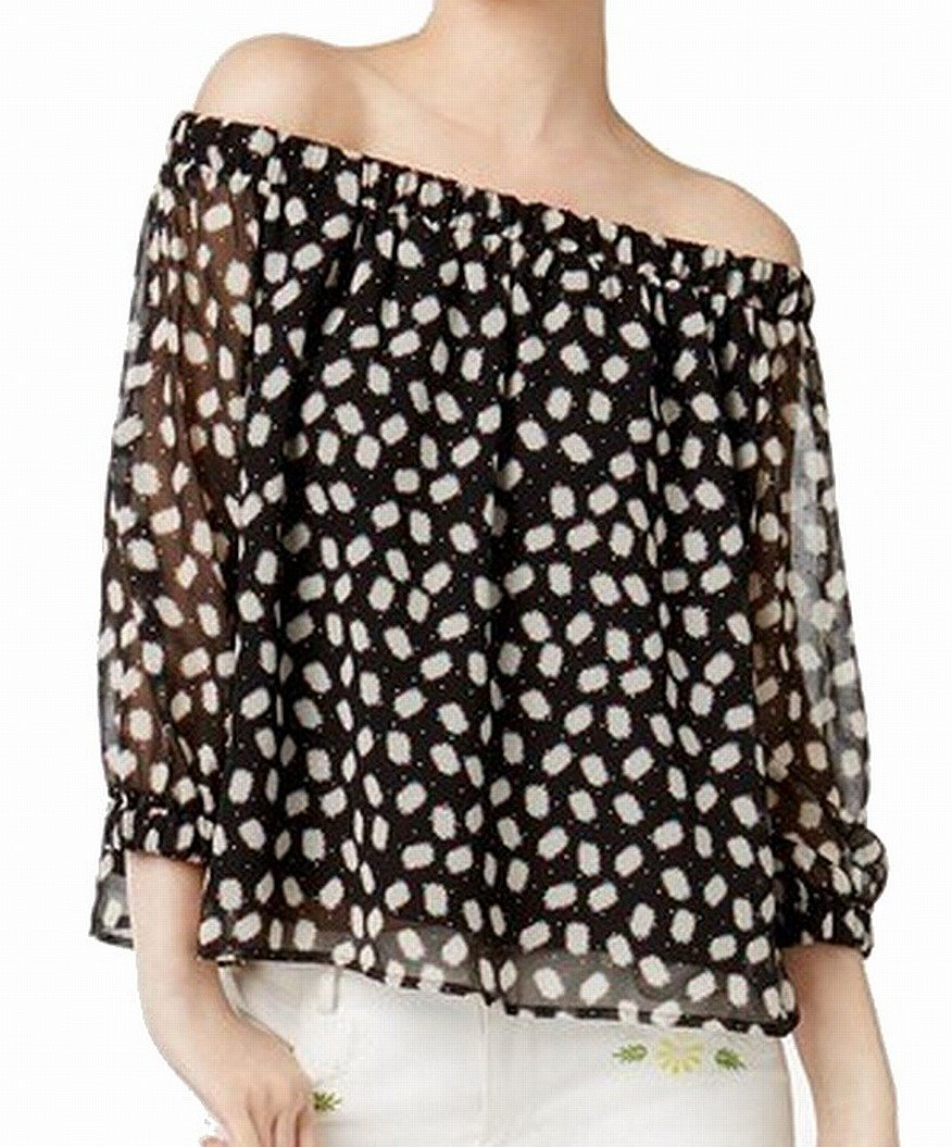 Cynthia Rowley Womens Off-The-Shoulder Embellished Blouse Black L