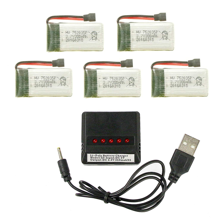 Baterias Lipo (5) Y Cargador 3.7v 380mah Rc Coolplay