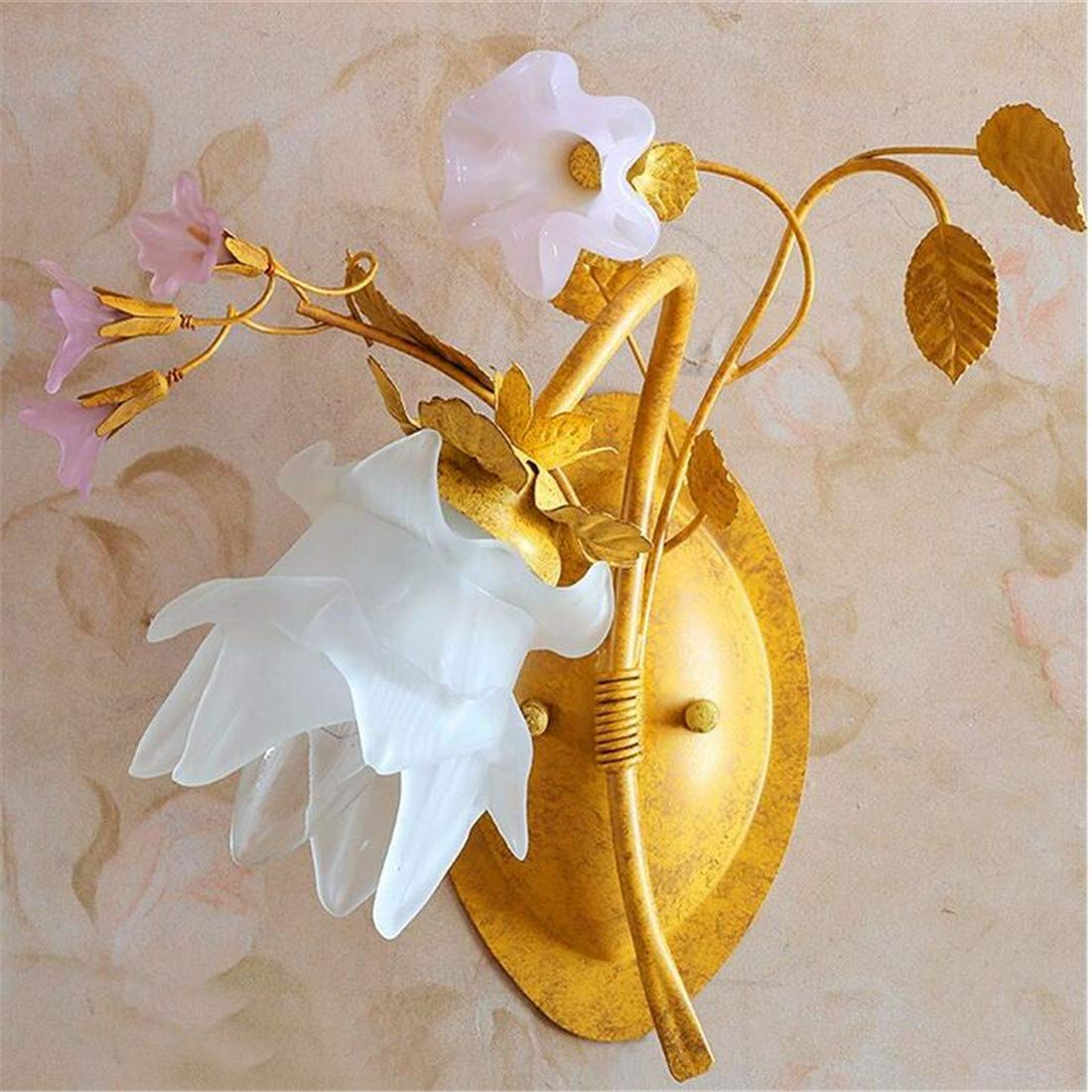 Vintage Chandelierwrought-Iron Balcony Country Style Wall Light Floral Decoration Staircase Small Wall Lamp, Left Toward The Optical Source (3W Led Bulb)
