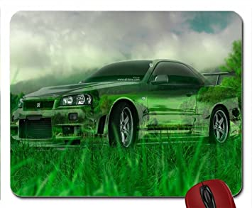 Nissan Skyline GTR R34 Crystal Nature Car... Wallpaper Mouse Pad Computer  Mousepad