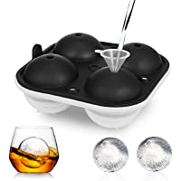 Adoric Ice Cube Trays, Large Ice Sphere Mold Tray for Whiskey Ice Ball Maker with Lids & Large Square 2.5 Inch Ice Ball…