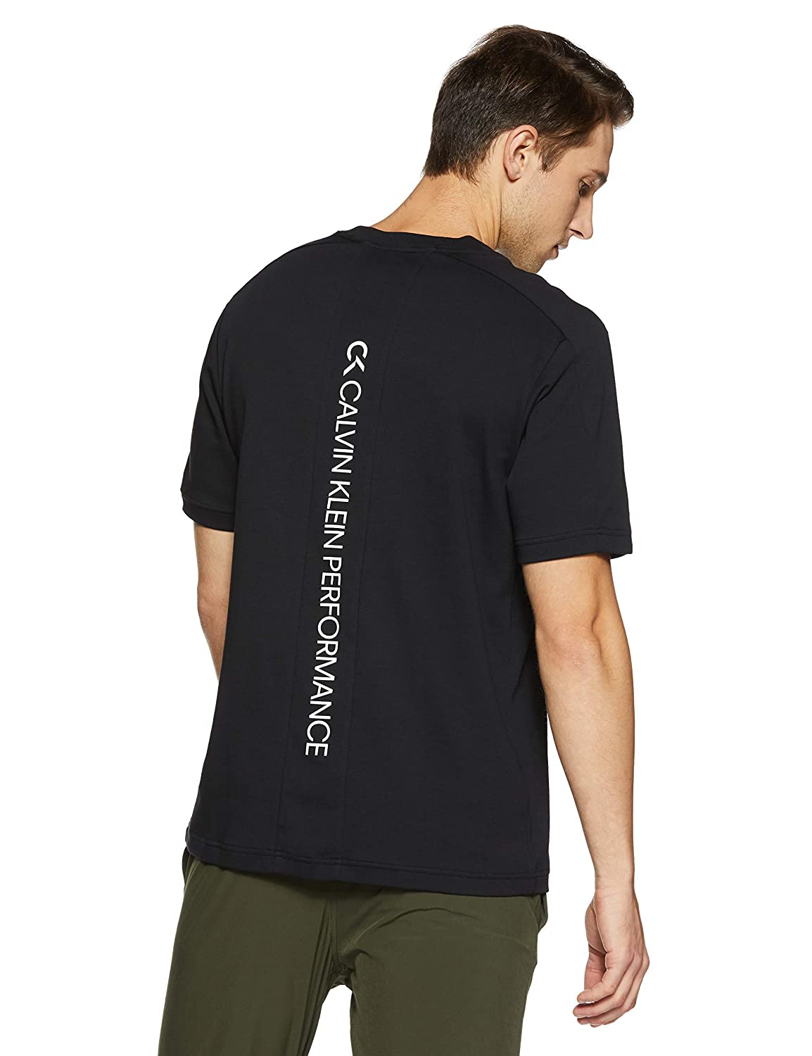 cddfc087 Calvin Klein Performance Active Icon Back Panel Stretch Cotton Relaxed Fit Short  Sleeve Tee: Amazon.in: Clothing & Accessories