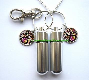 Hippie urna collar y llavero joyas - Hippie cremación collar ...