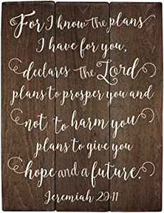 Jeremiah 29 11 Wall Art for I Know The Plans Jeremiah 29:11 Wood Bible Verse Art Nursery Bible Verse Art Wooden Bible Verse Sign (11 x 14 inch)