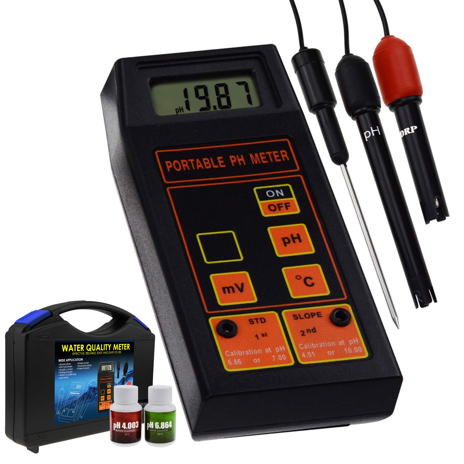 Digital 3in1 pH/ORP / Temp Meter Water Quality Tester with ATC Replaceable Detachable Electrode Probe for Aquarium, Laboratory Test, Hydroponics Water,Pool Testing Tool
