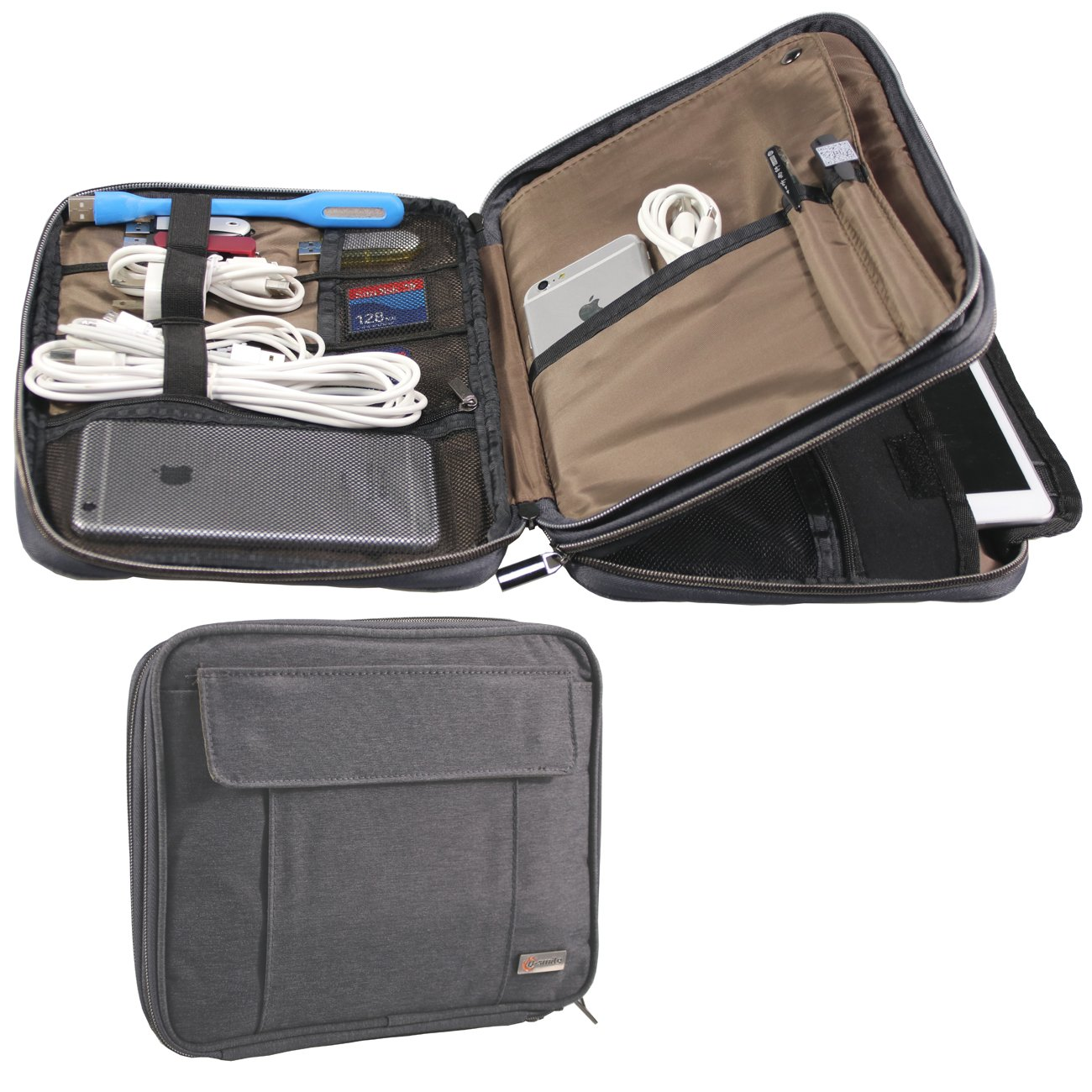 Q-Smile Travel Cable Organizer Double Layer, Water-resistance iPad Sleeve, Electronic Accessories Organizer for Cell Phones, USB Cable, SD Card, Hard Drive, Power Bank, Camera
