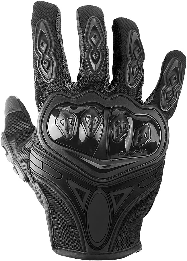Keenso 1 Pair of Motocross Cycling Racing Touch Screen Breathable Full Finger Gloves Outdoor Sports Guard Protective Armor M-Black Full Finger Motorcycle Gloves