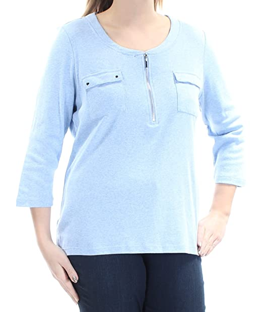 0b21e3b93 Karen Scott Womens Pocketed Zip-Neck Casual Top at Amazon Women s ...