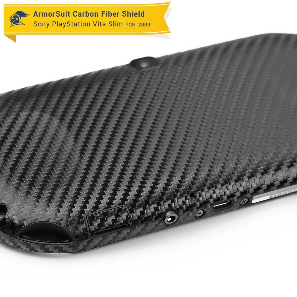 ArmorSuit MilitaryShield Black Carbon Fiber Skin Wrap Film 2014 HD Clear Screen Protector for Playstation Vita Slim - Anti-Bubble Film