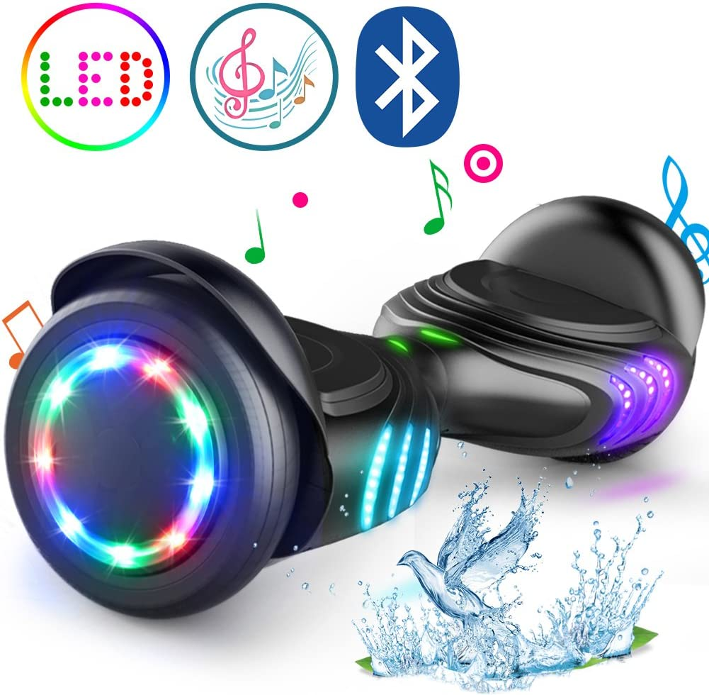 TOMOLOO Hoverboard with Bluetooth Speaker and LED Lights Self-Balancing Scooter black / US