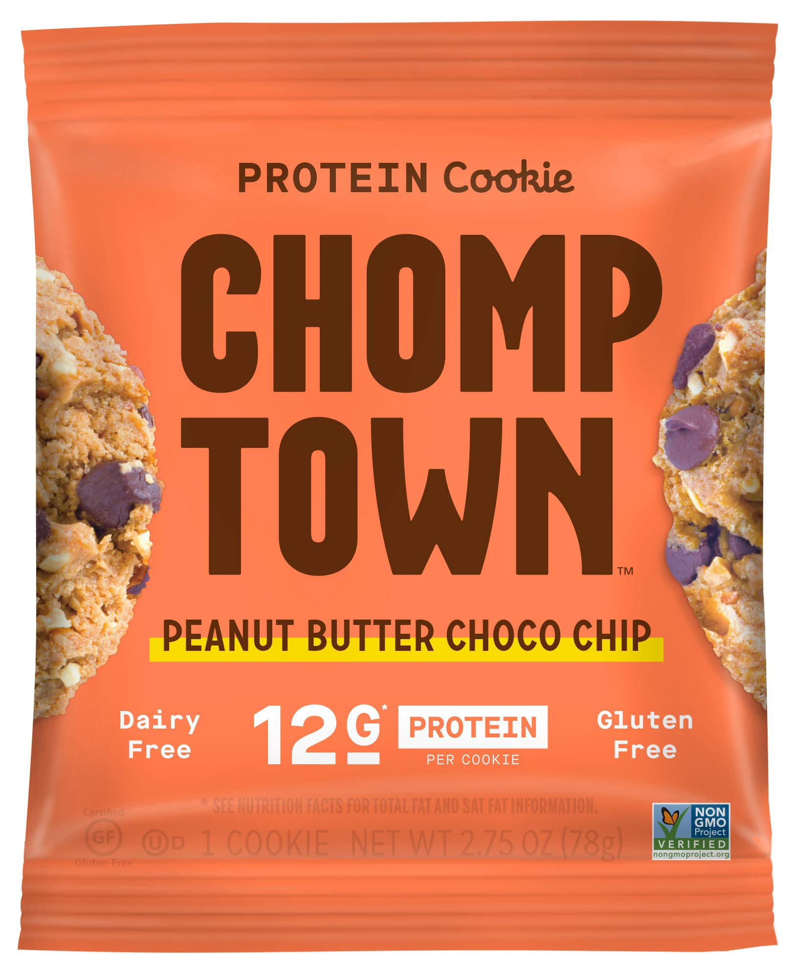Chomptown | Peanut Butter Chocolate Chip | High-Protein Cookie | 12g Protein | Gluten-Free | Dairy-Free | Non-GMO | Fair Trade | 2.75 oz (Pack of 20) by Chomptown (Image #2)