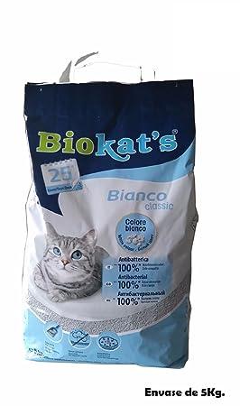 Biokats Arena lecho Gatos Bianco Classic 5Kg antibacteriana y Absorbente ...
