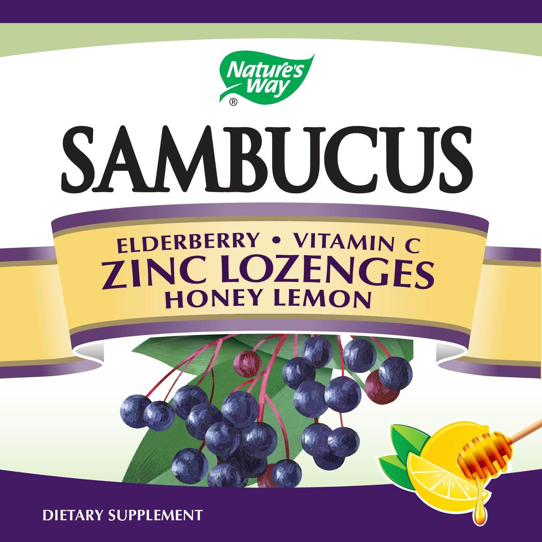 Sambucus Zinc lozenges with Elderberry and Vitamin c, Honey Lemon Flavor, Gluten Free, Kosher Certified, 24 Count by Nature's Way (Image #2)