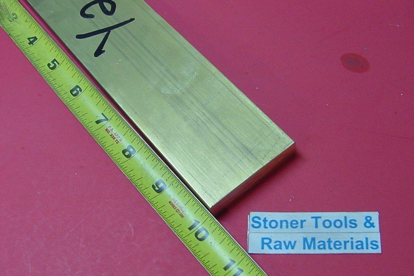 "1/2"" x 2"" C360 BRASS FLAT BAR 10"" long Solid .500"" Plate Mill Stock H02 7122Kd1UlTL"