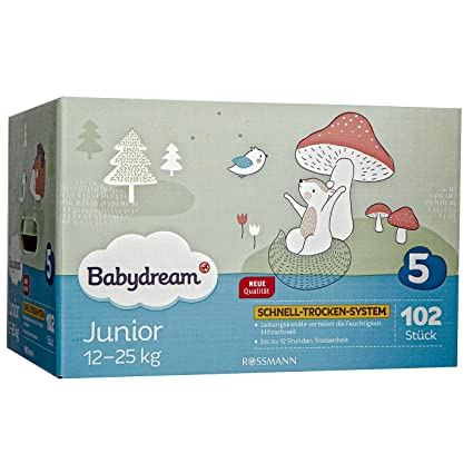 babydream pañales Junior Mega Pack de 102 unidades tamaño 5, 12 – 25 Kg,