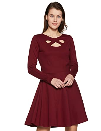 Miss Chase Womens Maroon Skater Dress  Amazon.in  Clothing   Accessories 655756cc8