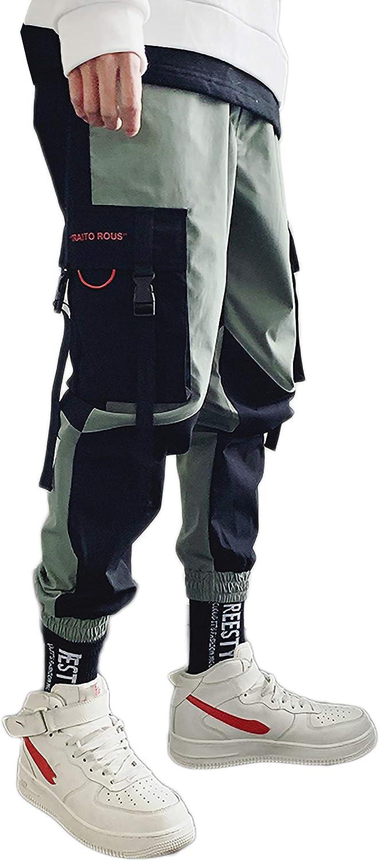 MOKEWEN Mens Hiphop Punk Jogger Sport Harem Cargo Trousers