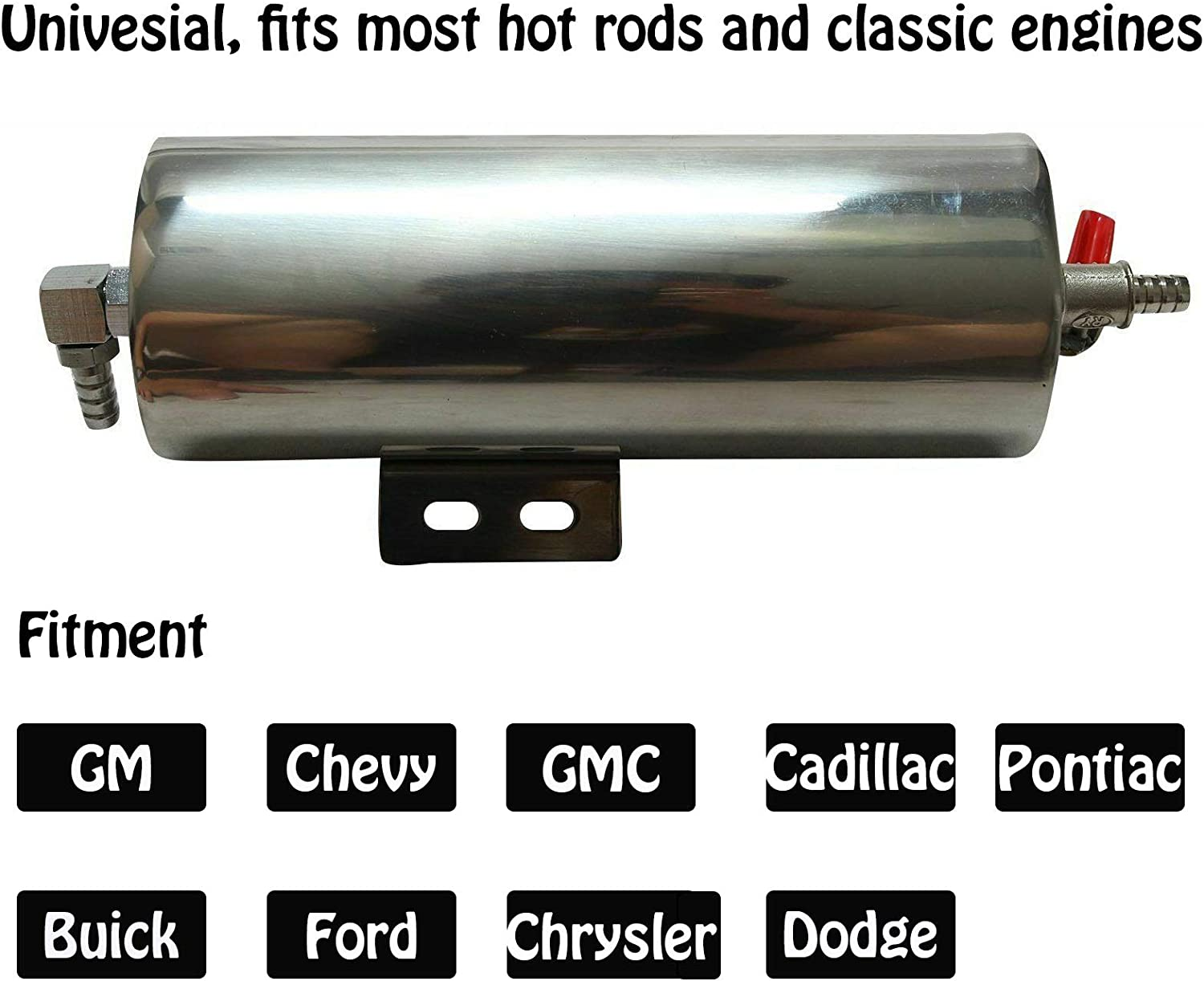 Overflow Catch Can Polished Surface Rust‑Resistant Classic Engines for Hot Rods Radiator Overflow Bottle