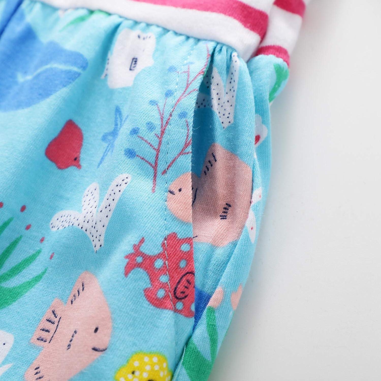 Le Ragazze Vestono T-Shirt Estate Cotone a Maniche Corte in Cotone Animale Applique Modello Unicorno Bambina Vestito 1-8 Anni
