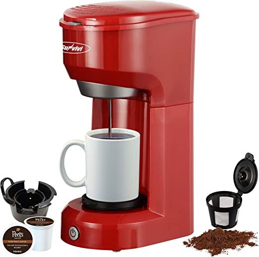 6oz to 14oz Mug Black K-Cup Coffee Maker With Permanent Filter Single Serve Coffee Maker Brewer for Single Cup One-touch Control Button with Illumination