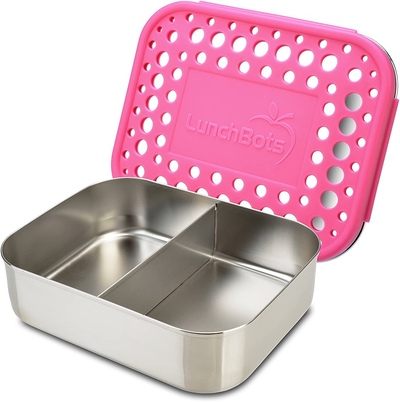 LunchBots Medium Duo Snack Container - Divided Stainless Steel Food Container - Two Sections for Half Sandwich and a Side - Eco-Friendly - Dishwasher Safe - Stainless Lid - Pink Dots