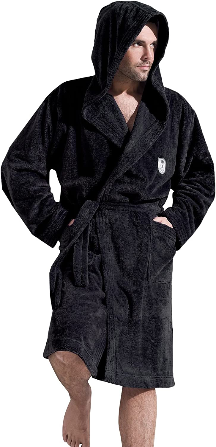 L/&L Company Men Gents Soft Bath Robe Housecoat Dressing Gown Bathrobe Tie Belt and Hood Knee Length XL, Graphite