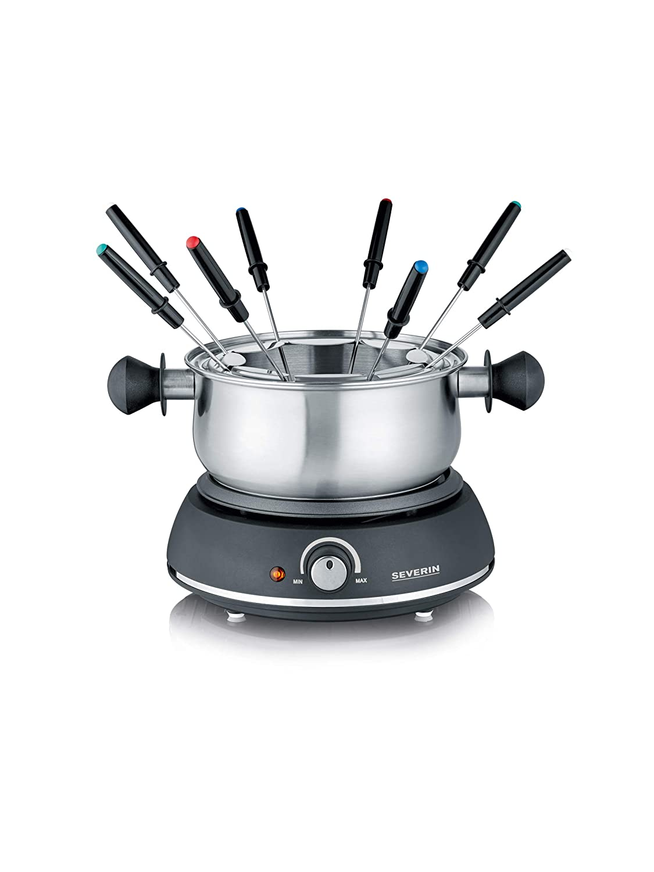 Severin FO 2405 Fondue con 8 Tenedores 1500 W, Acero Fino y plástico, Negro: Amazon.es: Hogar