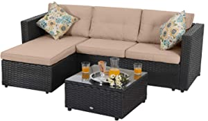 PHI VILLA Patio Sectional Wicker Rattan Small Outdoor Furniture Sofa Set with Upgrade Rattan (3 Piece,Beige)