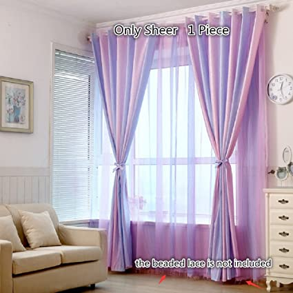 TIYANA Striped Sheer Curtains for Girls Bedroom 84 inch length Rod Pocket  Top Gradient Purple and Pink Tulle Voile Door Window Curtain Drape Panel ...