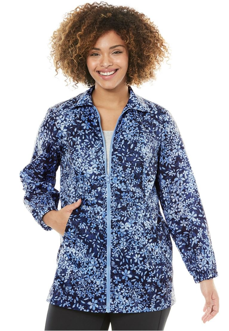 Woman Within Women's Plus Size Nylon Jacket, Zip Front Style Navy Shadow Floral,5X