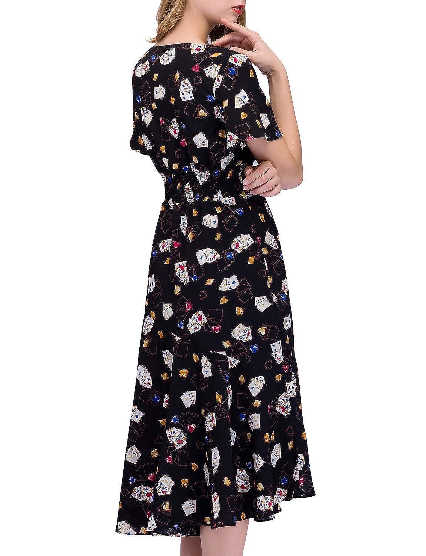 ... Vestito Donna Scollo V Estivo Bohemian Abiti Maxi da Spiaggia Elegante  Maniche Corte con Stampa Floreale Vestito da Partito  Amazon.it   Abbigliamento 27b671316ec