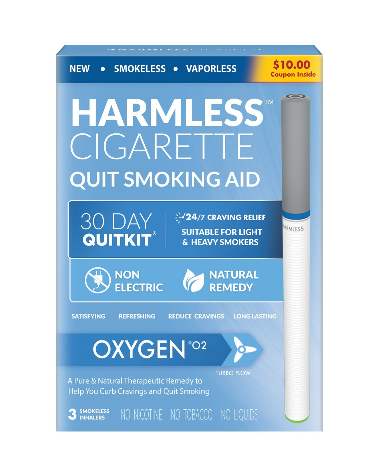 4 Week Quit Smoking Kit/Satisfying & Effective Stop Smoking Remedy/Includes Free Quit Smoking Support Guide/Harmless Cigarette. (Oxygen, 30 Day Quit Kit)