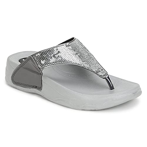 8369405b112c1 PURE HF-06 Silver Flip Flops for Women (5UK)  Buy Online at Low ...