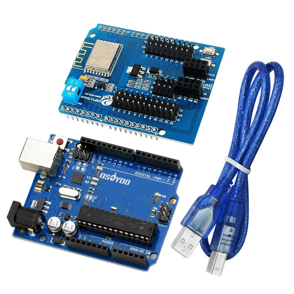 OSOYOO Gowoops UNO R3 ATmega328P Development Board and ESP8266 Web Server  Serial Port WiFi Shield Expansion Board ESP-13 for Arduino with USB Cable