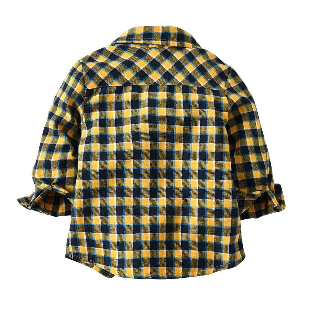 Milkiwai Boys Shirt Plaids Gentleman Style Long Sleeve Cotton Fabric with Bow