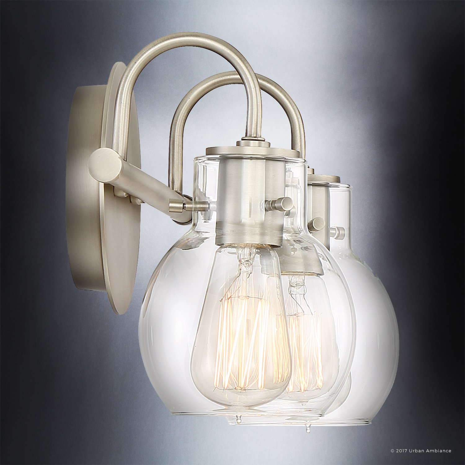 Luxury Vintage Bathroom Light, Medium Size: 9''H x 14''W, with Industrial Style Elements, Floating Glass Design, Aged Nickel Finish and Clear Glass, Includes Edison Bulbs, UQL2040 by Urban Ambiance by Urban Ambiance (Image #5)