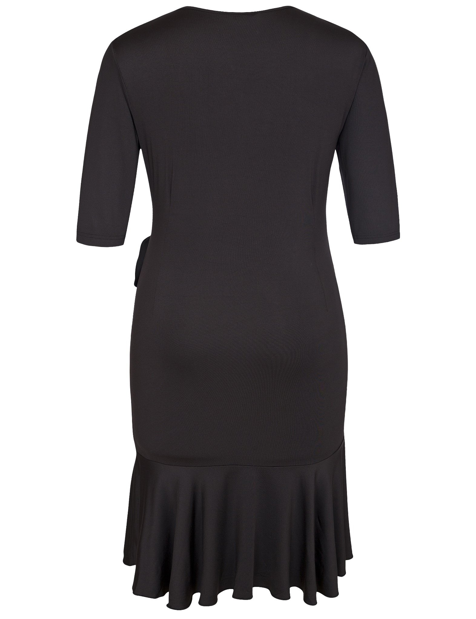 Chicwe Women's Plus Size Whimsy Wrap Solid Dress - Knee Length Casual Party Cocktail Dress Black 1X by Chicwe (Image #2)