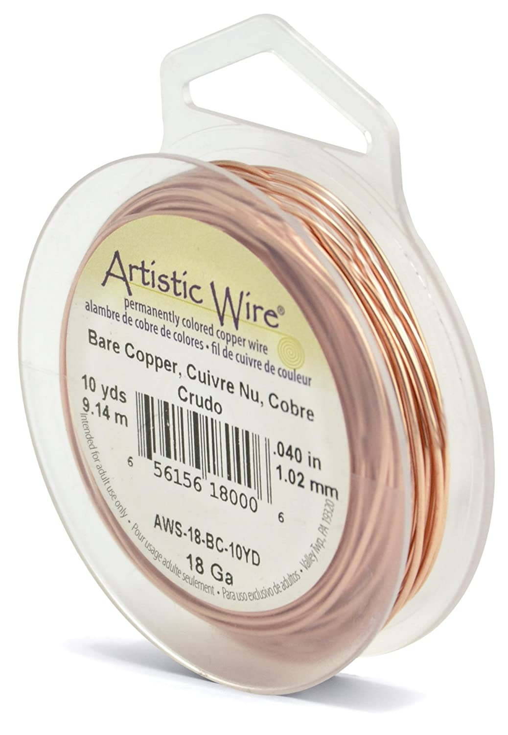 Beadalon 10-Yards Artistic 18-Gauge Bare Wire, Copper AWS-18-BC-10YD
