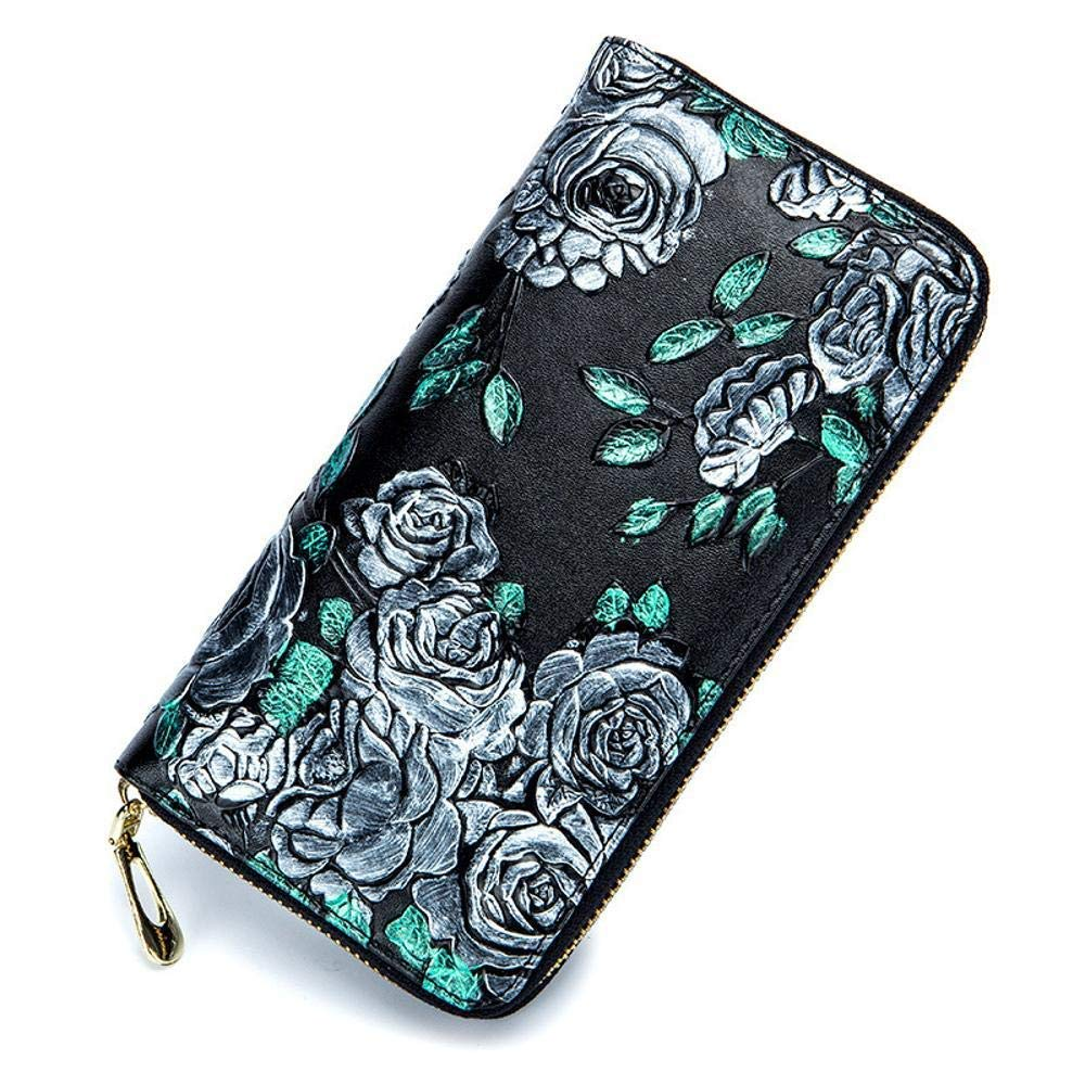 C Women's Wallet Women's Wallet Ladies Wallet Large pink Print Leather MultiClip (color   A)