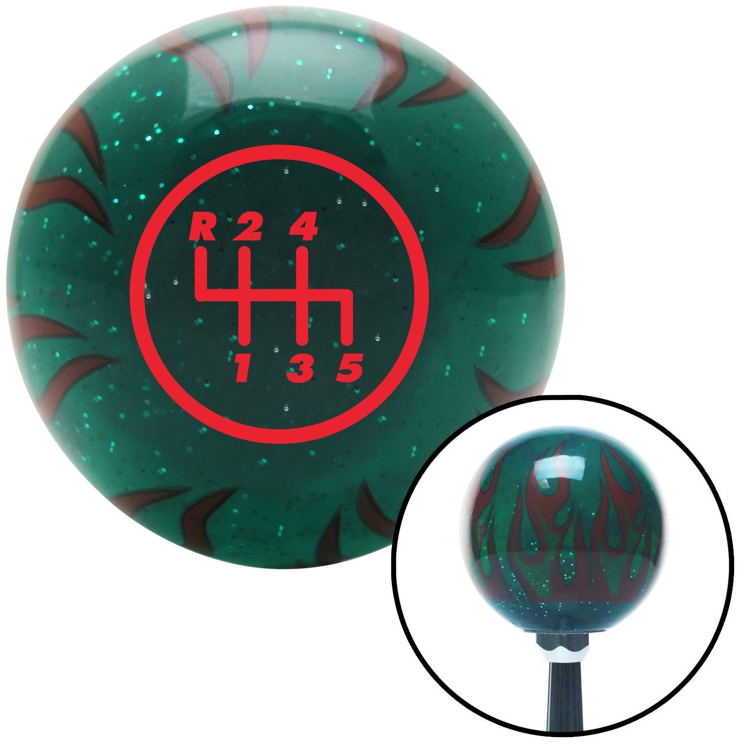 American Shifter 260341 Green Flame Metal Flake Shift Knob with M16 x 1.5 Insert Red 5 Speed Shift Pattern - 5RUL