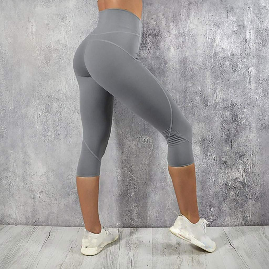 Womens Athletic Yoga Pants,Dacawin Fashion Solid High Waist Leggings Running Sports Gym Seven-Point Pants