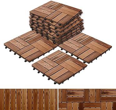 Baldosas Casa pura para tarima exterior de patio y jardín, madera de acacia, múltiples juegos de baldosas disponibles, marrón: Amazon.es: Bricolaje y herramientas