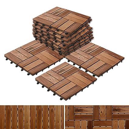 Casa Pura Interlocking Acacia Wood Garden Patio Decking Tiles 11 Tiles 30x30cm 1m² Multiple Tile Sets Available Ranger