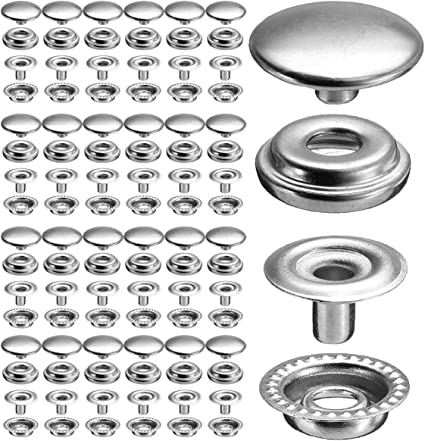 100pcs Plated Steel Snaps Fastener Snap Press Stud Cap Button Marine Boat Canvas Gunmetal Black